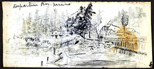 DepartureBay2 Historical drawings of Nanaimo by Heyward Seton Karr