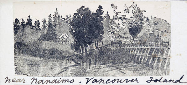 Historical drawings of Nanaimo by Heyward Seton Karr