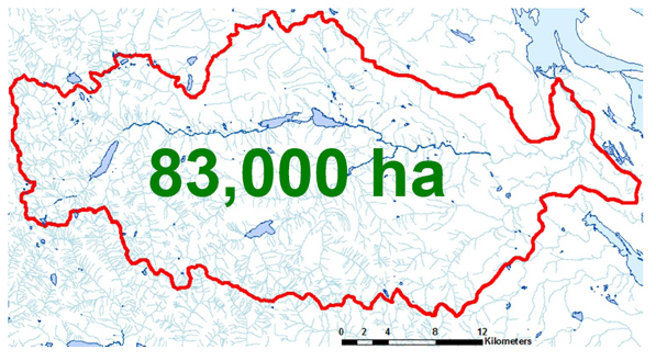 Nanaimo's Watershed is 83,000 hectares or 341 square miles